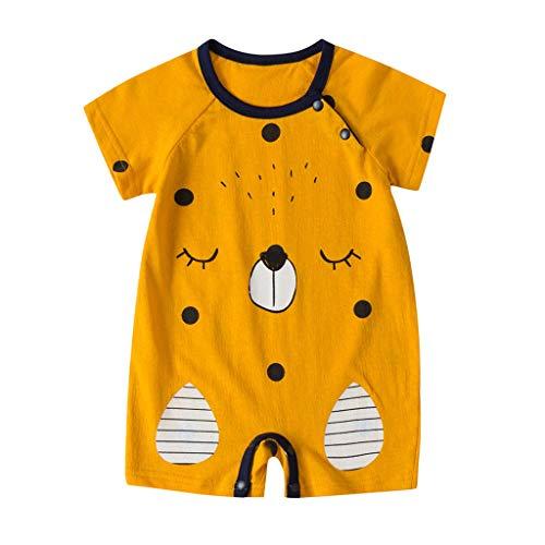 Kobay Neugeborene Baby Mädchen Cartoon Infant Strampler Jumpsuit Outfits Baby Cartoon Bär Druck Kurzarm Strampler (0-24M)