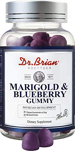 Dr.Brian ROETTGER Marigold&Blueberry Gummy,90 Gummies - Supplements for Helping The Eyes Health by maintaining The Density of Macular pigments which can be decreased by Aging