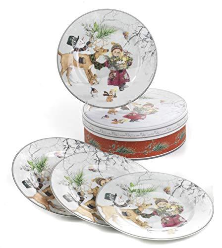 Set 4 Piatti Natalizi in Porcellana in Elegante Scatola Regalo, Diametro cm. 19,3