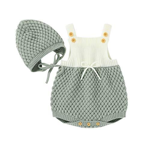 Geagodelia Conjunto de 2 piezas de pelele de punto para bebé + gorro de bebé de invierno Verde 3-6 Meses