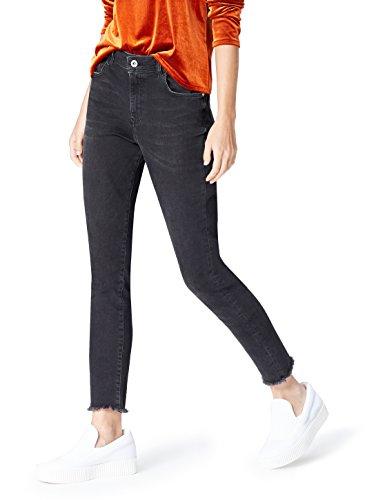 Amazon-Marke: find. Damen Skinny-Jeans mit ausgefranstem Saum, Schwarz, 34W / 32L, Label: 34W / 32L