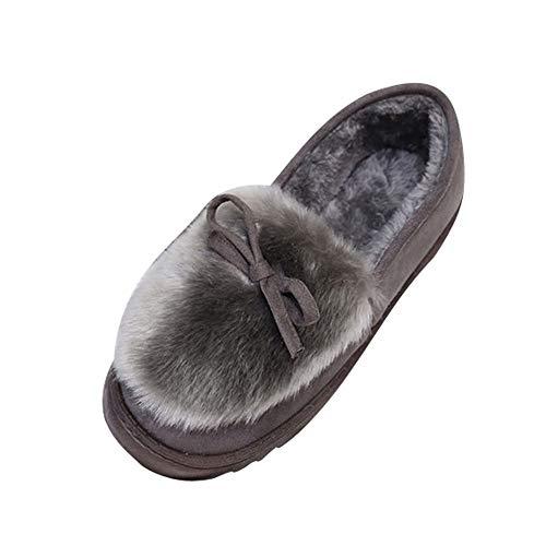 ZODOF Moda Mujer Arco Zapatos de Corte bajo Deslizamiento de Fondo Plano más Terciopelo Botas para la Nieve