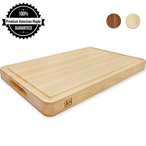 Wood Cutting Board Large Maple 18x12 Inch Reversible with Handles and Juice Groove, Thick Butcher Block Chopping Board Carving Cheese Charcuterie Serving Handmade by AtoHom
