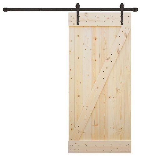 """TMS 6.6FT Dark Coffee Sliding DIY Barn Door Hardware Set w/38"""" Wide Solid Core Door Slab"""