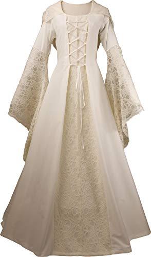 Dornbluth Damen Mittelalterkleid Eloise Made in Germany (36/38, Ecru-Weiss)