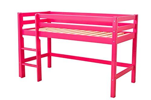 Hoppekids Halbhochbett, Spiel-/Junior-/Kinder-/Jugendbett, Kiefer massiv, 4 Farben Liegefläche 70 x 160 cm, Holz, rosa, 168 x 81 x 105 cm