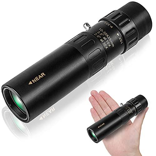 Uniquefire Mini Telescopio con Zoom Ottico Regolabile 10-30 x 25 Portatile Monocolo, Binocolo per Escursionismo Campeggio Viaggio, Nero