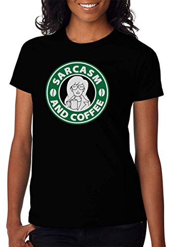 Sarcasm and Coffee Artwork T-shirt voor dames