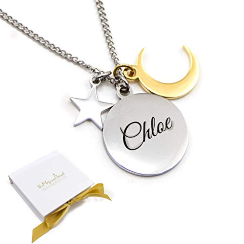 TMT Personalised Moon Star Necklace pendant with gift box | love you to the moon and back