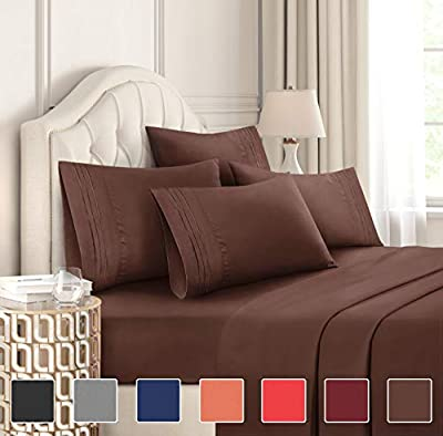 California King Size Sheet Set - 6 Piece Set - Hotel Luxury Bed Sheets - Extra Soft - Deep Pockets - Easy Fit - Breathable & Cooling - Wrinkle Free - Comfy - Brown Bed Sheets - Cali Kings Sheets
