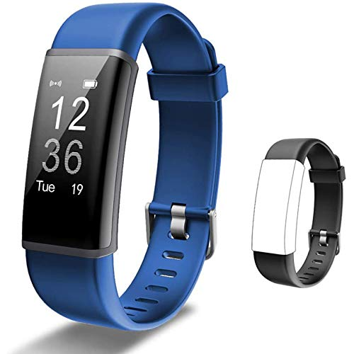Lintelek Fitness Tracker HR, Activity Tracker with Step Counter, Heart Rate Monitor, Smart Watch with Sleep Monitor, Extra Replacement Band for Men Women Kids (Blue+Black)