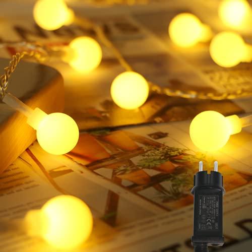 Litogo Catena Luminosa, 17M 120 LED Filo di Lampadine Luci Da Esterno E Interno con Presa 8 Modalità Impermeabile Decorative Lucine per Natale, Balcone, Giardino, Feste, Camera,Matrimonio-Bianco Caldo