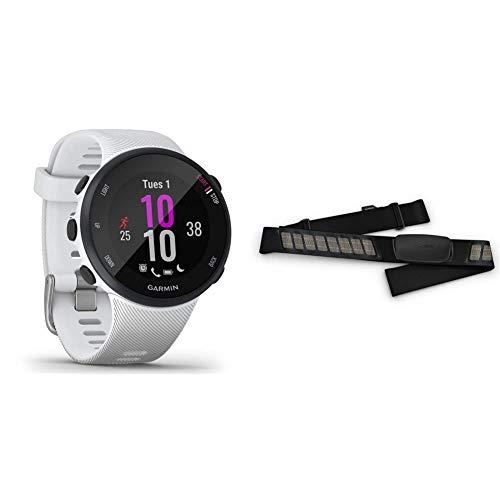 Garmin Forerunner 45s, Orologio Smart GPS per la Corsa e Altri Sport Unisex, Bianco, S & HRM-Dual Fascia Cardio Premium ANT+ e Bluetooth BLE, Nero, One Size