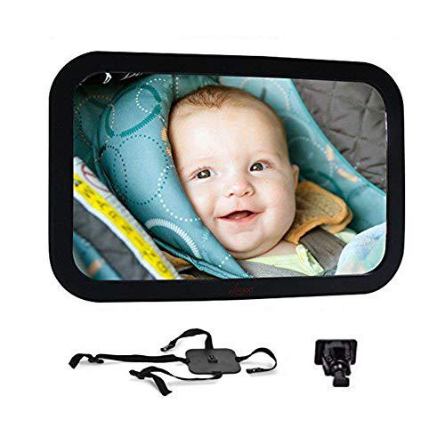 360 grados Espejo ajustable del bebé del espejo de coche inastillable asiento orientado hacia atrás del coche convexo ancha y la visión clara para el niño montado completamente