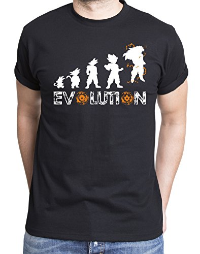 Son Goku Evolution T-Shirt pour Homme Dragon Master Son Ball Vegeta Turtle Roshi DB, Farbe2:Schwarz;Größe2:S