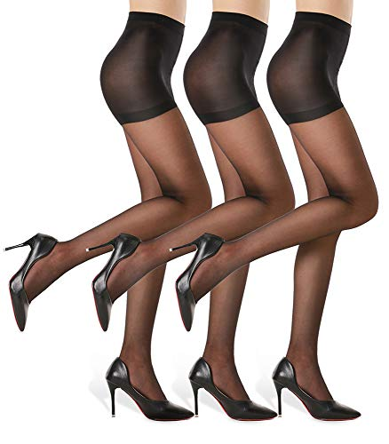 3 Pairs Women's Sheer Tights - 20D Control Top Pantyhose with Reinforced Toes, Black, L