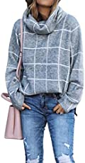 KIRUNDO 2019 Winter Women's Turtleneck Knit Sweater Long Sleeves Pullover Plaid Print Side Split Checked Outwear Loose Fit Jumper Tops (Medium, Gray)