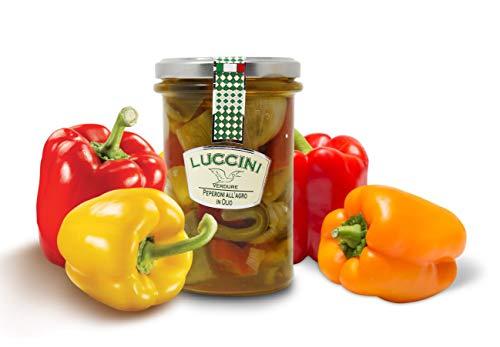 Luccini Peperoni Zitrusfrüchte aus Öl, 280 g, Mostarde – Früchte höchster Qualität (2 Stück)