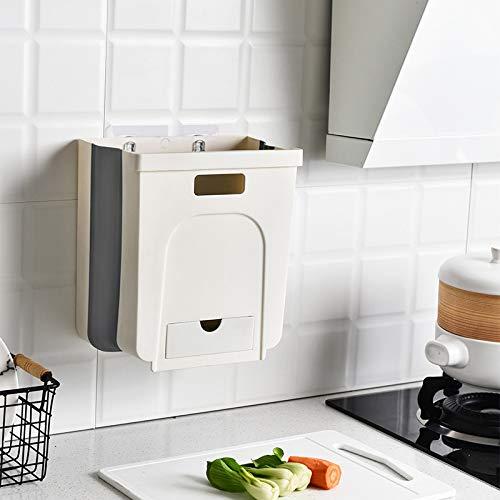Cq Acrylic - Cubo de basura para debajo del gabinete de 2.4 galones, 10 l para colgar debajo del fregadero, cubo de basura pequeño...