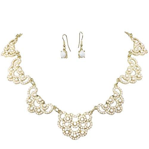 Dulce encaje Look lunares burbujas oro tono Boutique declaración collar pendientes set–varios colores