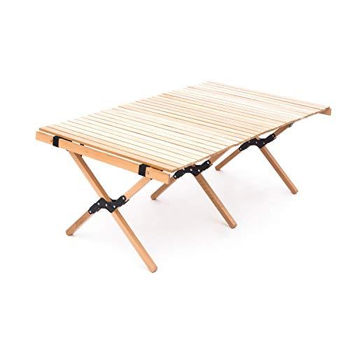 DOKICAMP ロールテーブル 木製 ウッドロールトップテーブル 収納バッグ付き 折りたたみ アウトドア テーブル キャンプテーブルROLL TABLE(ナチュラル, L120CM*W70CM*H43CM)