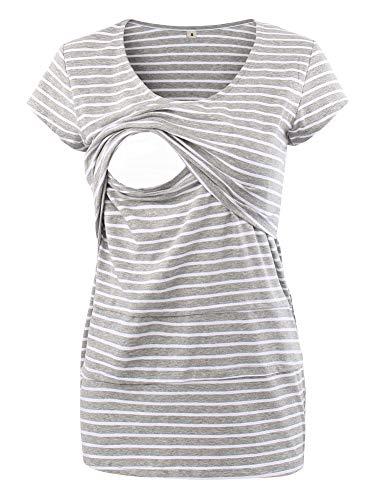 Love2Mi Frauen Umstandsmode Layered Unregelmäßige Pflege Shirt Stillshirt Kurzarm Zum Stillen (S, Graue Weiß Streifen)