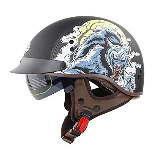 JFIOSD Casco de Moto Retro, Casco de Moto de Cara Abierta con Parasol para Hombres y Mujeres, Medio Casco de Moto para Biker Cruiser S Touring, Aprobado por ECE (Color: B, Talla: XL = (61-62cm))