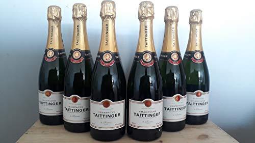 Taittinger Brut Reserve Champagner 6 x 0,75 Liter + Taittinger Champagner Glas + Taittinger Champagner Glas + Schiefer Glasuntersetzer eckig ca. 9,5 cm Ø 2 Stück