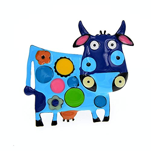 ROTOOY Broches de Vache en émail coloré pour Femmes Manteau d'hiver Pull Broche Broche Animal Lait-Vache Broche Diaco Bijoux 2021-bleu
