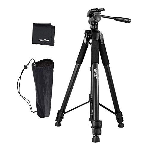"UltraPro 72"" Inch Black Heavy Duty Aluminum Camera Tripod Bundle for Canon, Nikon, Sony, Samsung, Olympus, Panasonic, Pentax, and All Digital Cameras, Includes UltraPro Microfiber Cleaning Cloth"
