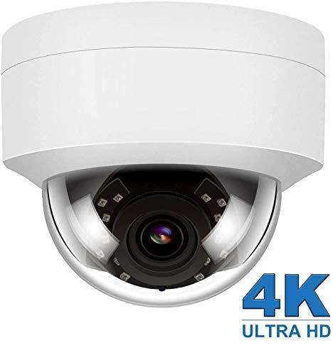 4K 8MP HD IP Seguridad PoE Cámara Audio para Exteriores Visión Nocturna, Cámara IP Detección de Movimiento Resistente Intemperie con micrófono Compatible Onvif Hikvision 2.8 mm 108° Gran Angular