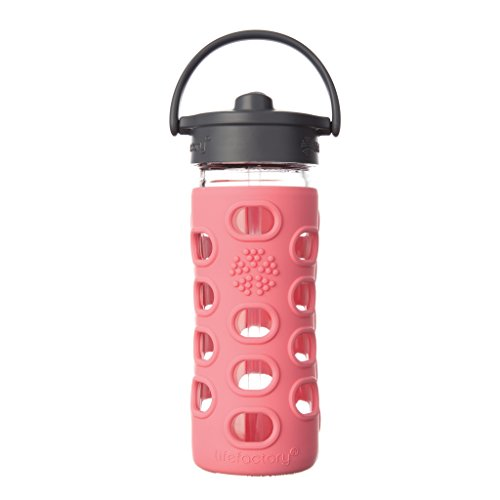 Lifefactory 15158 Glas -Trinkflasche 350ml, Straw Cap, coral