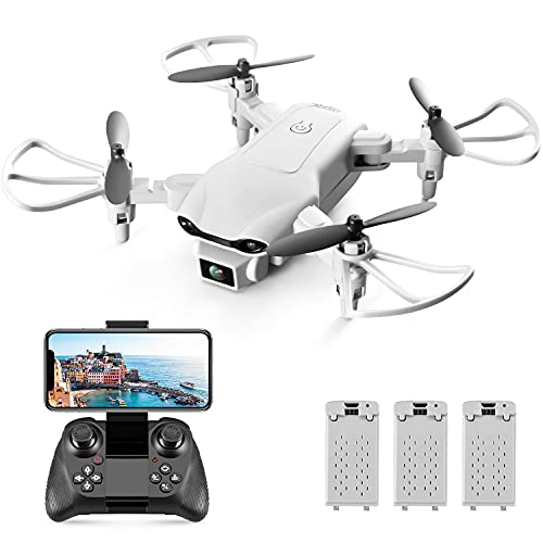 4DRC V9 Mini Drone with Camera for Adults Kids,720P HD Wifi FPV Live Video,RC Quadcopter Helicopter Beginners Toys Gifts,3 Batteries, Altitude Hold, Waypoints Functions, One Key Start, 3D Flips,Gray