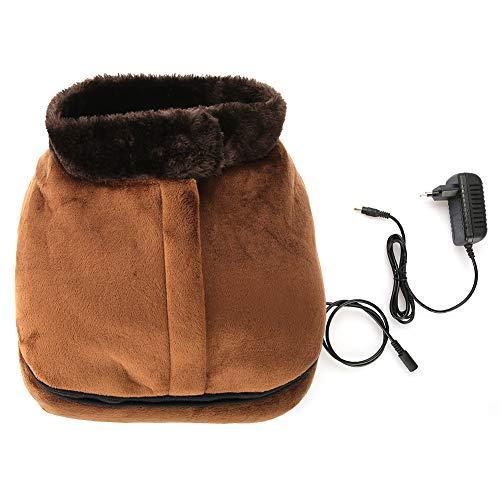 Calentador de Pies y Masajeador,2 en 1 Calentamiento del Pie para Aliviar el Dolor en la Espalda, el Cuello y la Cintura, y Promover la Circulación Aanguínea(EU)-Extraíble,Marrón Terciopelo