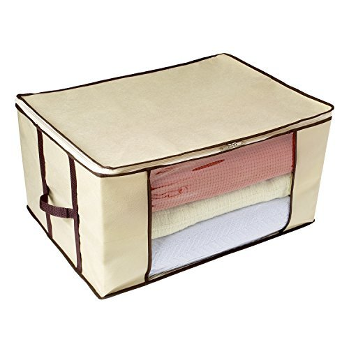 Ziz Home Blankets Clothes Storage Bag (1 & 3 Pack) Breathable Anti-Mold Fabric Closet Organization | Linen Blanket Storage Sweater Storage Duvet Storage Bags Eco-Friendly Clear Transparent Window (1)