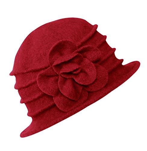 Urban GoCo Lana Cloche Sombreros Gorras para Mujer Vintage Floral Trimmed Sombreros de Invierno (#2 Rojo)