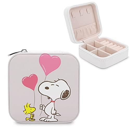 Snoopy - Caja de almacenamiento para joyas con compartimento para la gestión del hogar, viajes, pendientes, collar y collar de moda