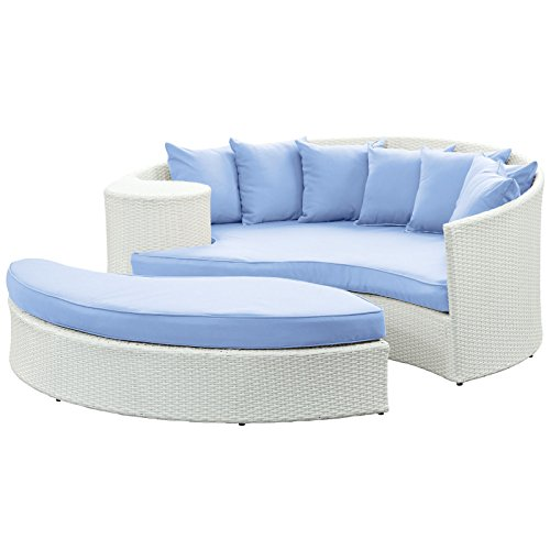 Hot Sale LexMod Taiji Outdoor Wicker Patio Daybed with Ottoman in White with Light Blue Cushions