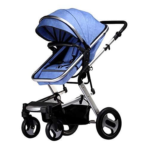 Not a brand Sanded stroller four-wheeled shock absorption Baby Stroller 3 in 1 (Color : Crimson bike+basket)