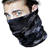EBAINO LUXUER: Neck Gaiter for Women and Men,Cool & Breathable Face Bandana, Seamless Half Face Scarf Cover (CAMOUFLAGE GREY)