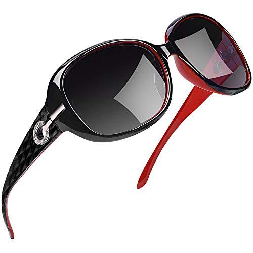Joopin Gafas de Sol Mujer Moda Polarizadas Protección UV400 de Gran Tamaño Gafas de Sol Señoras (Rojo)