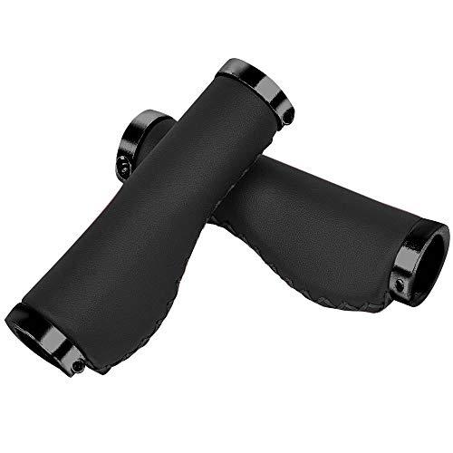 Agarraderas Suaves para manillar de bicicleta Puños de cuero PU hechos a mano antideslizante de aluminio Agarres para bicicleta Accesorios para bicicleta de montaña Bicicleta plegable (Black)