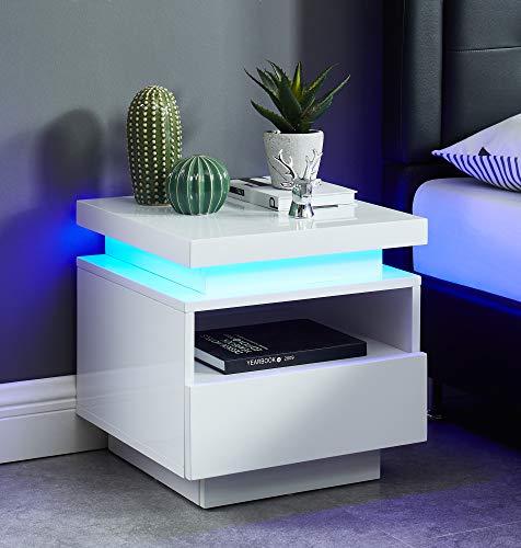 BAÏTA Cosmos Table de Chevet à LED, laqué, 40cm