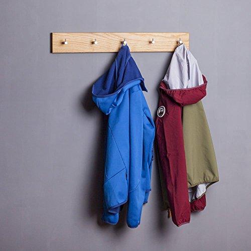 WOODS Hakenleiste Garderobe Holz massiv I Garderobenleiste Landhaus I Moderne Wandgarderobe aus Holzhandgefertigt in Bayern I Handtuchhalter I Garderobenpaneel (40cm (3 Haken), Eiche)