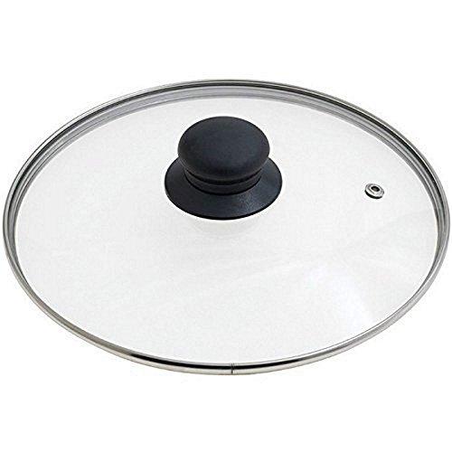 Ibili - Tapa para cacerola de acero inoxidable con ventilación de plata y cristal negro, 14 cm