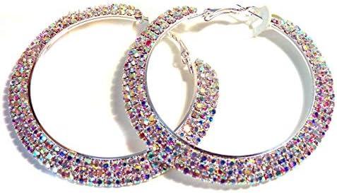 Crystal Iridescent Rhinestone Hoop Earrings 2 5 Inch ABS Rhodium Crystal Hoop Earrings product image