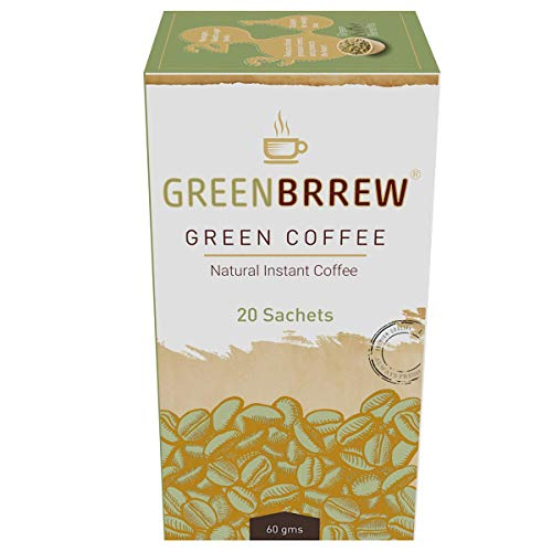 Greenbrrew Instant Green Coffee Premix for Weight Loss (Natural, 20 Sachets), 60g - Easy to Use