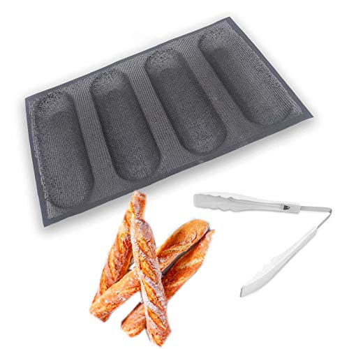Silicone Baguette Moulds hot dog bun mold Bread Bun Mold Non StickBaking Form Perforated Mould4 Loaf Bread Pan + Food Tongs