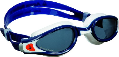 Aqua Sphere Kaiman Exo Swimming Goggles with Smoke Lens, Blue Muted/White