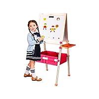 Tavole da disegno 3 in 1 Double Sides: 1. lavagna magnetica; 2. Lavagna magnetica / Tavolo da disegno, DryEasel; 3. Asse del disegno con un rotolo di carta da disegno. I bambini possono giocare da soli o insieme allo stesso tempo. SCHEDE A DUE LATI -...
